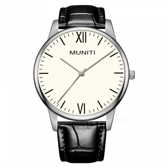 MUNITI MT1010G Mens Simple Style Quartz Watch 30m Waterproof PU Leather Strap - Black + WhiteQuartz Watches<br>ColorBlack + WhiteModelMT1010GQuantity1 pieceShade Of ColorBlackCasing MaterialAlloyWristband MaterialLeather StrapSuitable forAdultsGenderMenStyleWrist WatchTypeFashion watchesDisplayAnalogBacklightNOMovementQuartzDisplay Format12 hour formatWater ResistantWater Resistant 3 ATM or 30 m. Suitable for everyday use. Splash/rain resistant. Not suitable for showering, bathing, swimming, snorkelling, water related work and fishing.Dial Diameter4 cmDial Thickness0.8 cmWristband Length24 cmBand Width2 cmBattery1 x LR626Packing List1 x Watch<br>