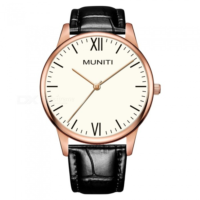 MUNITI MT1010G Mens Simple Style Quartz Watch 30m Waterproof PU Leather Strap - Black + GoldQuartz Watches<br>ColorBlack +GoldModelMT1010GQuantity1 pieceShade Of ColorBlackCasing MaterialAlloyWristband MaterialLeather StrapSuitable forAdultsGenderMenStyleWrist WatchTypeFashion watchesDisplayAnalogBacklightNOMovementQuartzDisplay Format12 hour formatWater ResistantWater Resistant 3 ATM or 30 m. Suitable for everyday use. Splash/rain resistant. Not suitable for showering, bathing, swimming, snorkelling, water related work and fishing.Dial Diameter4 cmDial Thickness0.8 cmWristband Length24 cmBand Width2 cmBattery1 x LR626Packing List1 x Watch<br>