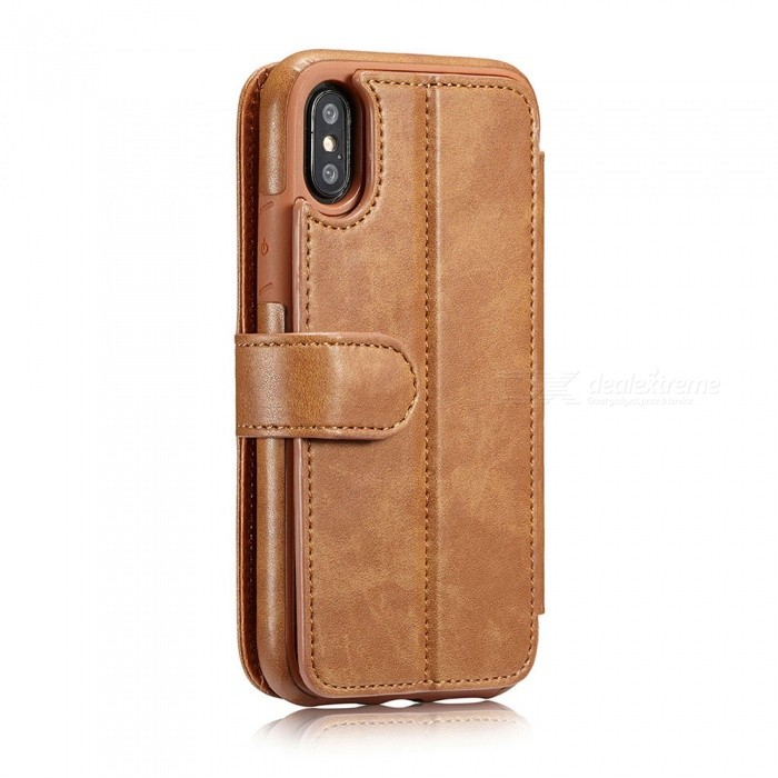 Measy Fashionable PU Leather Wallet Case for IPHONE X - BrownLeather Cases<br>Modeliphone XColorBrownQuantity1 pieceMaterialPUCompatible ModelsiPhone XStyleFull Body Cases,Flip OpenDesignSolid Color,With Stand,Card SlotPacking List1 x Case<br>