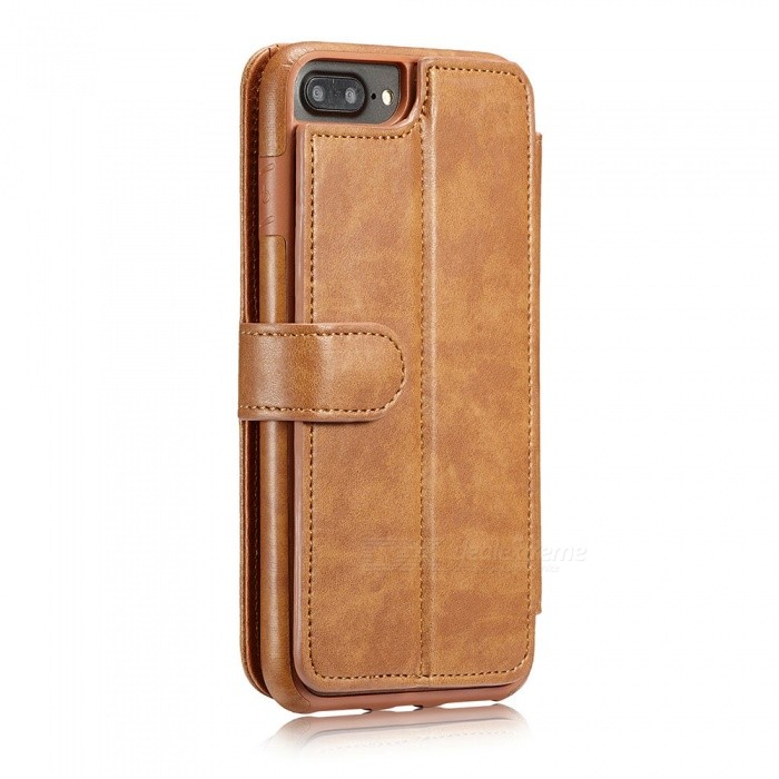 Measy Fashionable PU Leather Wallet Case for IPHONE 7/8 Plus - BrownLeather Cases<br>Modeliphone 7/8 PlusColorBrownQuantity1 pieceMaterialPUCompatible ModelsiPhone 7 PLUS,IPHONE 8 PLUSStyleFull Body Cases,Flip OpenDesignSolid Color,With Stand,Card SlotPacking List1 x Case<br>