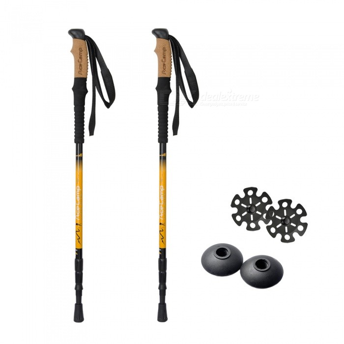 AceCamp Retractable 3-Section Aluminum Walking Climbing Hiking Stick Trekking Pole (2 PCS)Trekking Pole<br>ColorYellow + Black (2 PCS)Model2612Quantity2 piecesMaterial7075 AluminumBest UseClimbing,Rock Climbing,Family &amp; car camping,Camping,Mountaineering,TravelGrip MaterialEVA+CorkLocking MechanismInner LockShock AbsorbingYesPacking List2 x Walking Sticks2 x Trekking Basket2 x Snowflake Basket2 x Tip Protector (installed on the waling stick)<br>