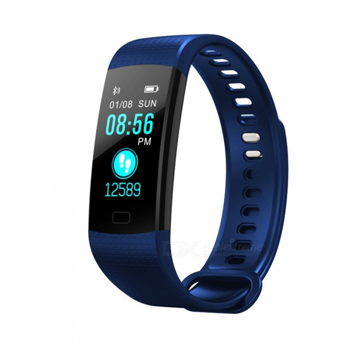 Y5 Color Screen Smart Bluetooth Bracelet with Heart Rate, Blood Pressure / Oxygen, Real-Time Monitoring - BlueSmart Bracelets<br>ColorBlueModelY5Quantity1 pieceMaterialTPUWater-proofIP67Bluetooth VersionBluetooth V4.0Touch Screen TypeTFTOperating SystemAndroid 4.4Compatible OSAndroid IOSBattery Capacity90 mAhBattery TypeLi-ion batteryStandby Time15 daysPacking List1 x User instruction1 x Smart bracelet1 x Packaging<br>