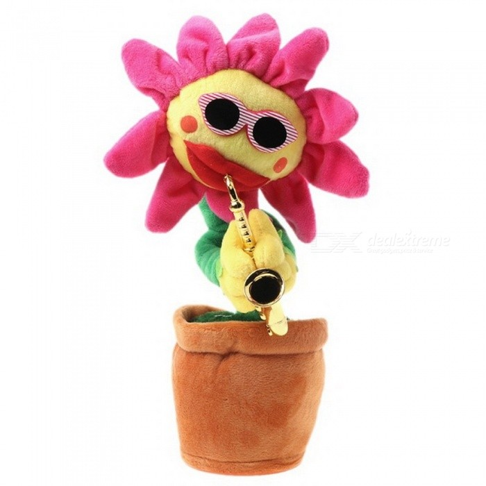 Singing-Dancing-Saxophone-Sunflower-Soft-Plush-Potted-Funny-Creative-Electric-Toy-Rose-Red