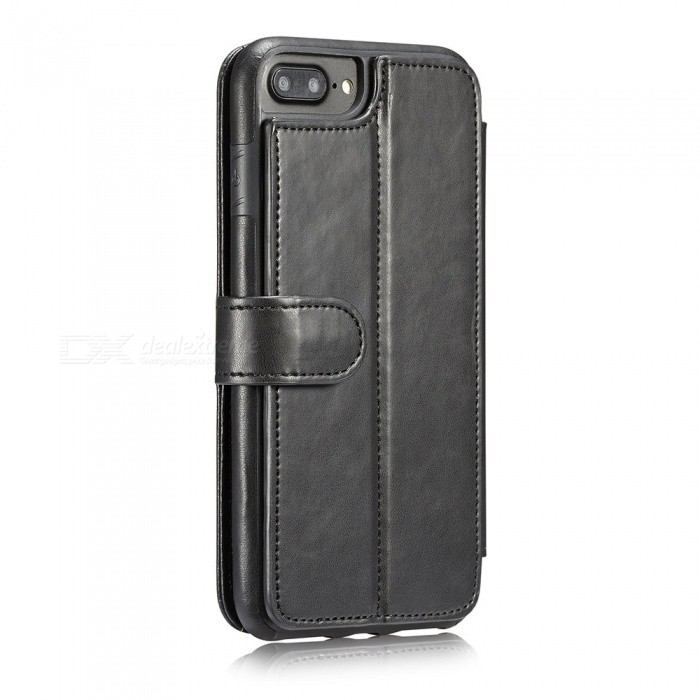 Fashionable PU Leather Wallet Case for IPHONE 6/6S Plus - BlackLeather Cases<br>ModelIPHONE 6/6S PlusColorBlackQuantity1 setMaterialPUCompatible ModelsIPHONE 6S PLUS,IPHONE 6 PLUSStyleFull Body Cases,Flip OpenDesignSolid Color,With Stand,Card SlotPacking List1 x Case<br>