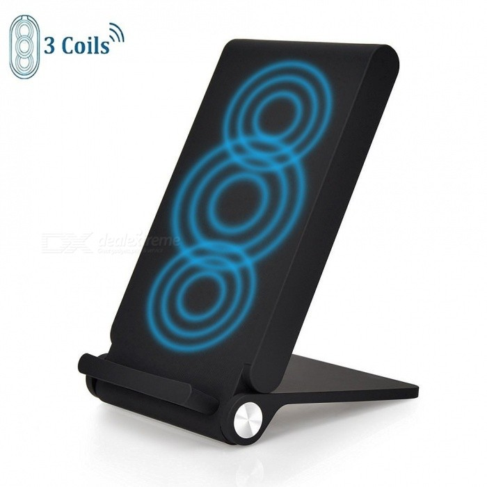 Measy 3 Coil Qi Portable Folding Wireless Charger, Charging Stand for IPHONE 8 / 8 Plus/  X and All Qi-Enabled Devices