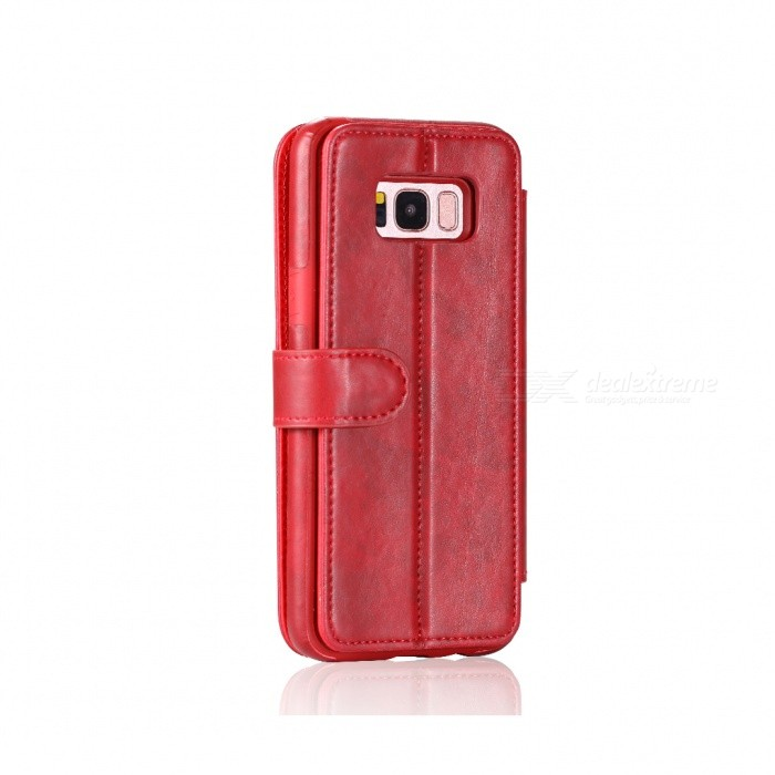 Fashionable PU Leather Wallet Case for Samsung Galaxy S8 Plus - RedLeather Cases<br>ColorRedModelSamsung Galaxy S8 PlusModelN/AMaterialPUQuantity1 setShade Of ColorRedCompatible ModelsSamsung Galaxy S8 PlusFeaturesAnti-slip,Dust-proof,Shock-proof,Holder functionPacking List1 x Case<br>