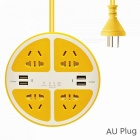 2500W-Circle-5-Hole-Charger-Socket-Power-Strip-with-4-USB-Ports-for-Household-Appliance-Phone-Tablet-Yellow-(AU-Plug)