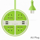 2500W-Circle-5-Hole-Charger-Socket-Power-Strip-with-4-USB-Ports-for-Household-Appliance-Phone-Tablet-Green-(AU-Plug)