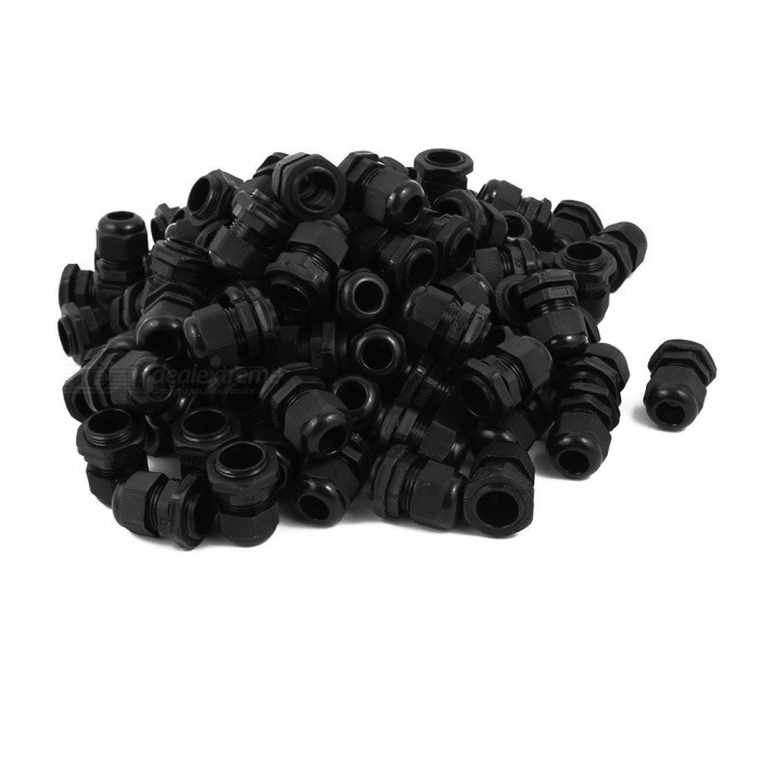 RXDZ-PG11-Water-Resistance-Cable-Gland-Fixing-Connector-Joints-Fastener-Black-(100-PCS)