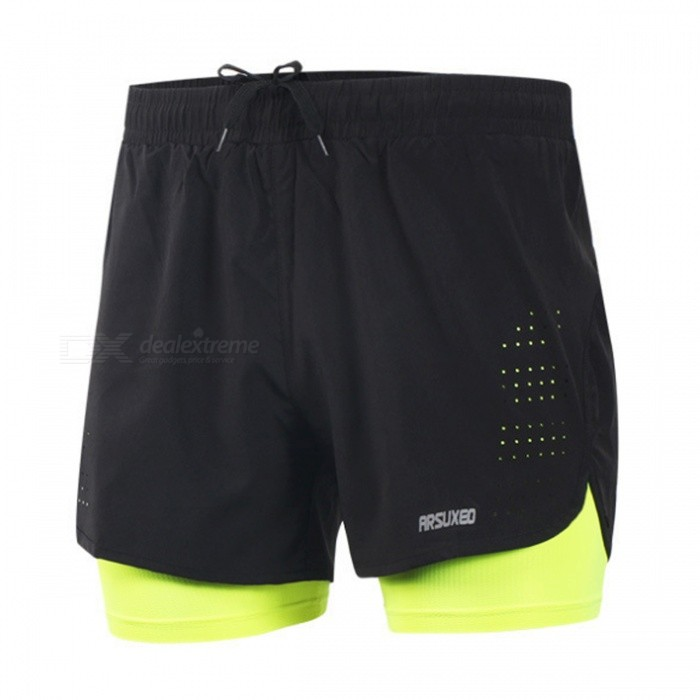 Buy ARSUXEO Casual Loose Men's Running Shorts with Longer Liner for Active Training Exercise Sports Jogging - Green + Black (3XL) with Litecoins with Free Shipping on Gipsybee.com