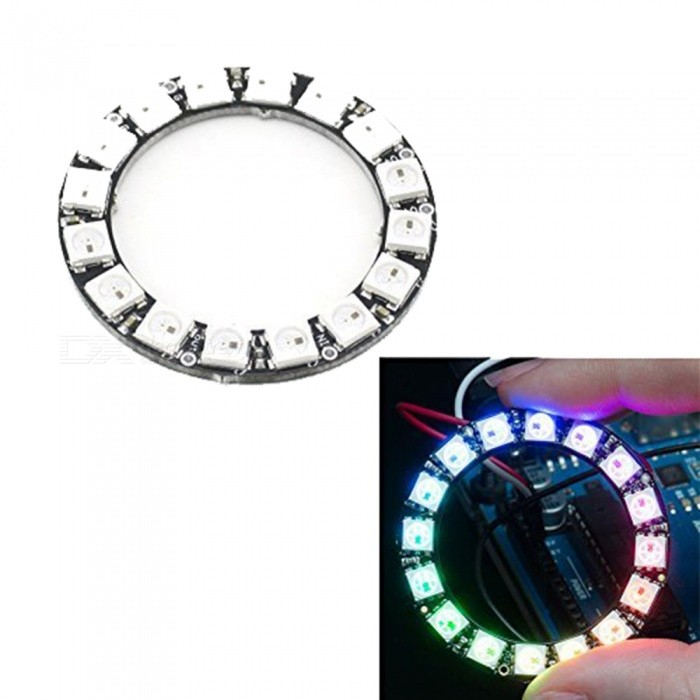 Produino 16-Bit WS2812 5050 RGB LED Ring Round Integrated Driver Module For ArduinoLCD, LED Display Module<br>Color1ModelNumQuantity1 pieceMaterialFR4 +LEDScreen TypeOthersWorking Voltage   5 VEnglish Manual / SpecNoDownload Link   NOPacking List1 x 5050 RGB  Driver Board Arduino<br>