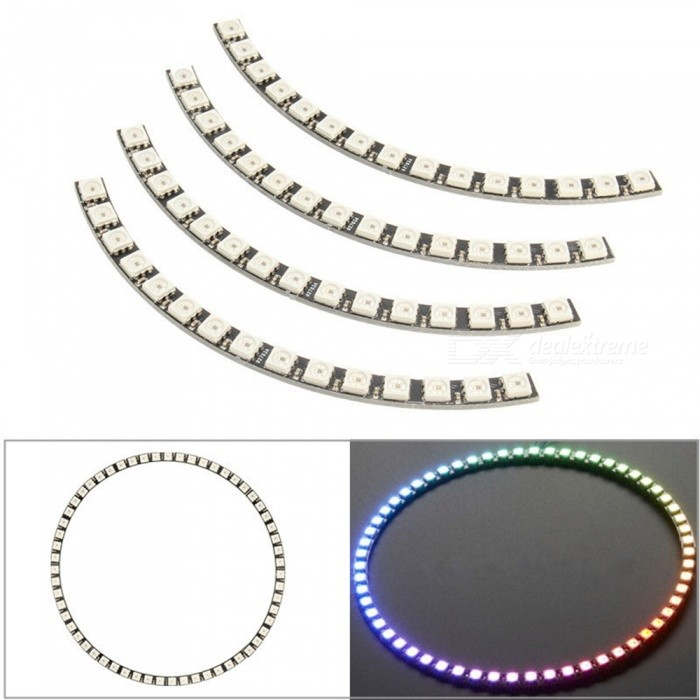 Produino-Ring-Wall-Clock-60-LED-Ultra-Bright-WS2812-5050-RGB-Lamp-Panel-for-Arduino