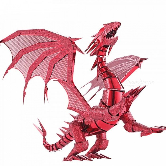 ZHAOYAO-Cool-Flame-Dragon-Style-3D-Creative-Metal-Handmade-DIY-Assembly-Puzzles-Model-Toy-Red