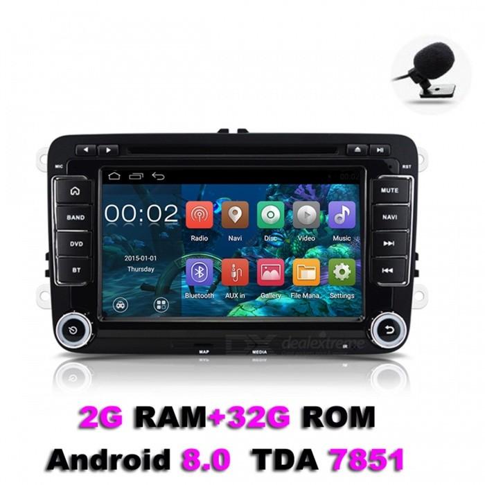 "Funrover 7"" 1024*600 Android 8.0 2G RAM 32GB ROM OEM Car DVD Player w/ GPS Auto Radio RDS for VW Golf Polo Jetta Skoda Seat Cars"