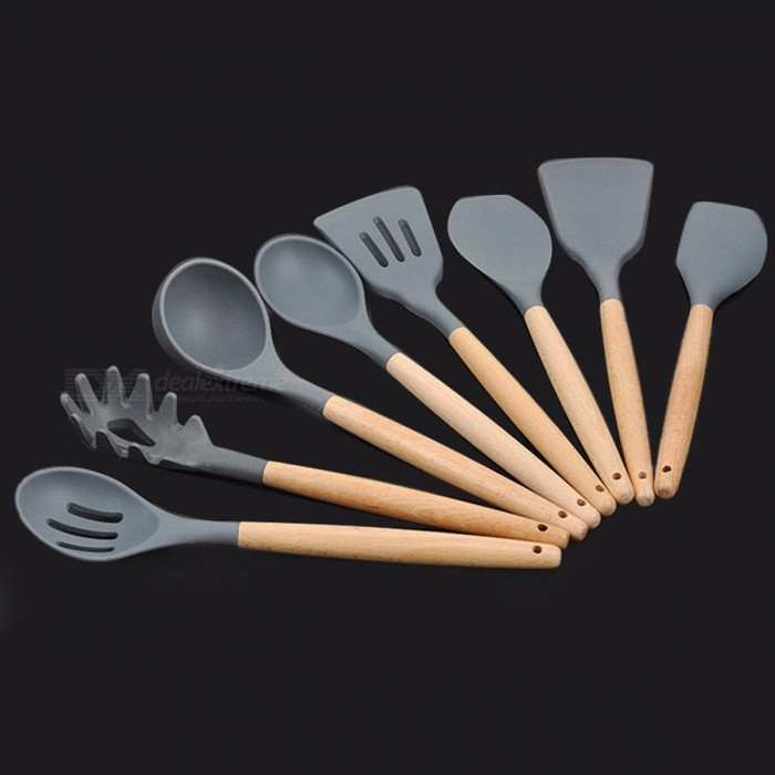 Wood Handle Silicone Cooking Utensils For Kitchen Slotted Turner Spatula Spoon Ladle Spaghetti Tools Cooking Sets (8PCS / Set)