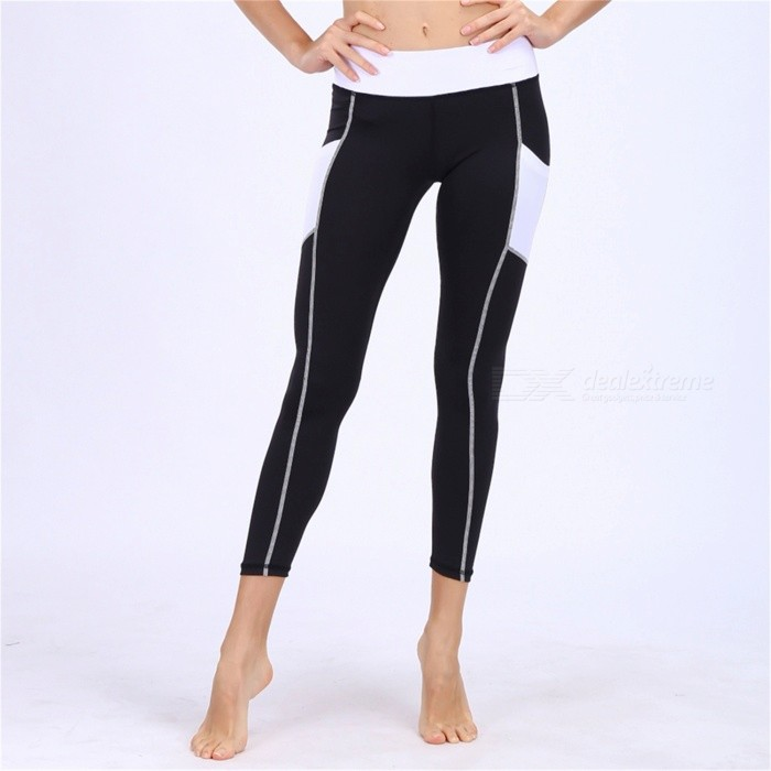 BARBOK Heart Hip Pattern Soft Tight Ankle Yoga Fitness Ninth Pants with Side Pockets - Black