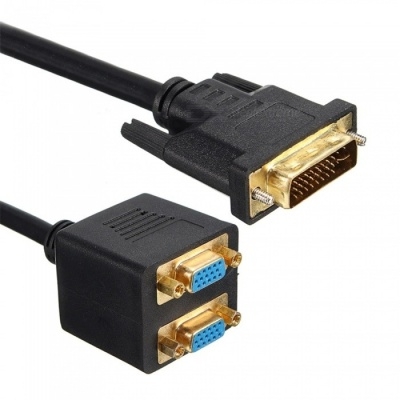 DVI-I 24+5 Pins Male to 2 Dual VGA Female Monitor Adapter Splitter Cable