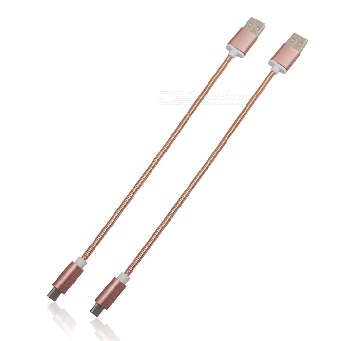 2Pcs 3.4A Stainless Steel Spring Quick Charge Type-C USB 3.1 USB Charging Cable - Rose Gold (24cm)