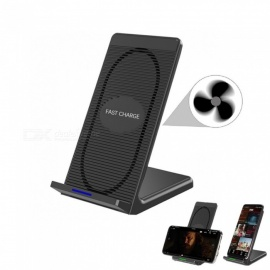 Cwxuan 10W Fast Wireless Charger Stand, Qi Charging Pad w/ Cooling Fan for Samsung / IPHONE 8 / IPHONE X - Black