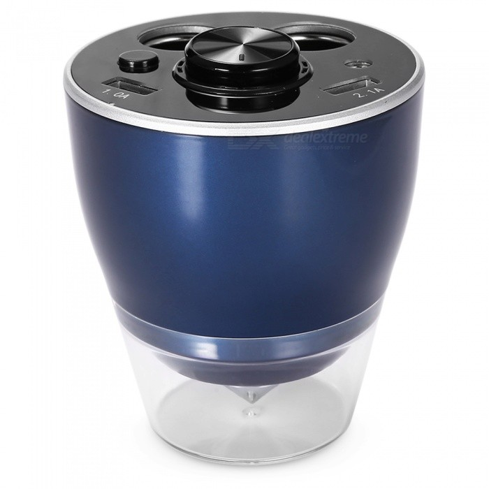 Portable Multifunctional Cup Holder Dual USB Car Charger - Deep Blue