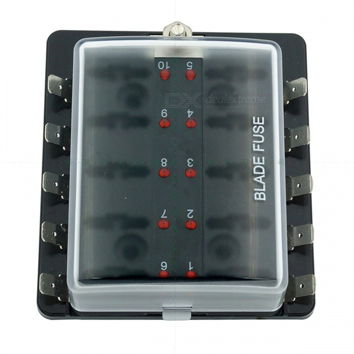 10-Way Blade Fuse Box [LED Indicator for Blown Fuse] [Protection Cover] on