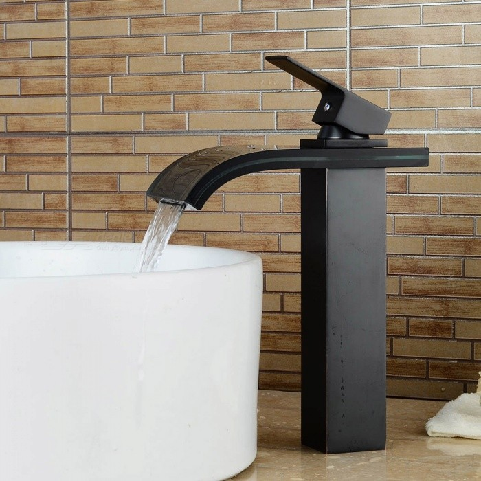 Antique-Brass-Deck-Mounted-Waterfall-Ceramic-Valve-Single-Handle-One-Hole-Oil-rubbed-Bronze-Bathroom-Sink-Faucet