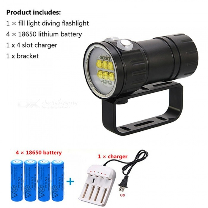 AIBBER TONE XHP70 P90 Red Blue Professional Photography Fill Light 80m Powerful LED Diving Flashlight
