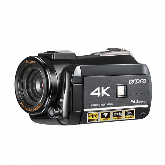Ordro HDR-AC3 4K UHD DV 24MP Digital Camcorder w/ Infrared Night Vision Light Multiple Function
