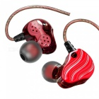 QKZ KD4 Running Sport Earphone Headset Earbuds, Double Unit Drive HIFI Bass In-Ear Earphone with MIC - Red