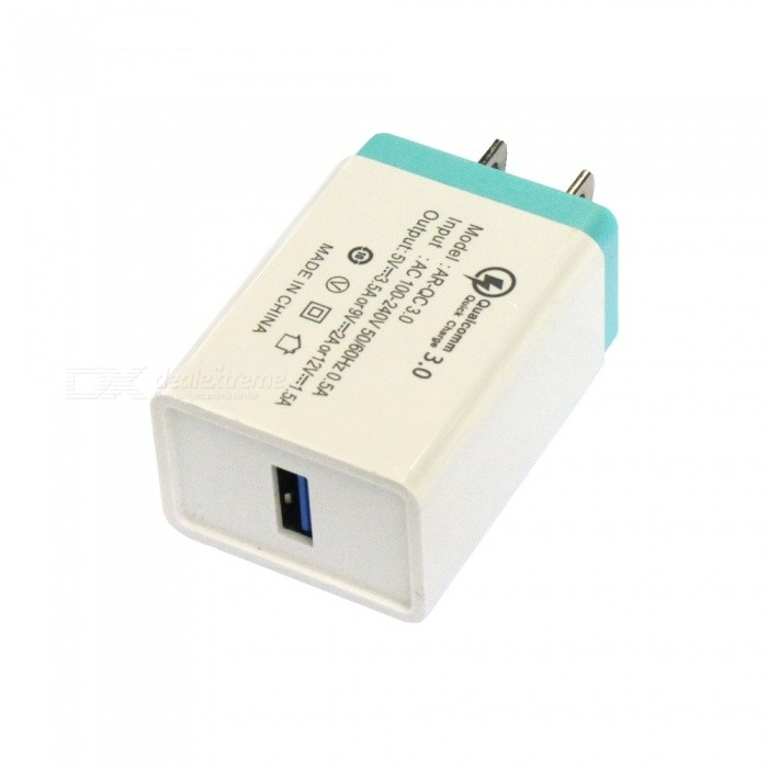 Buy QC3.0 USB 3.5A AC100-240V US Plug Fast Charger - White + Blue with Litecoins with Free Shipping on Gipsybee.com