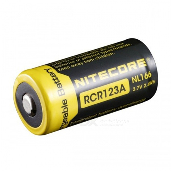 Nitecore NL166 16340 RCR123A 3.7V 2.4Wh 650mAh Lithium Rechargeable Battery