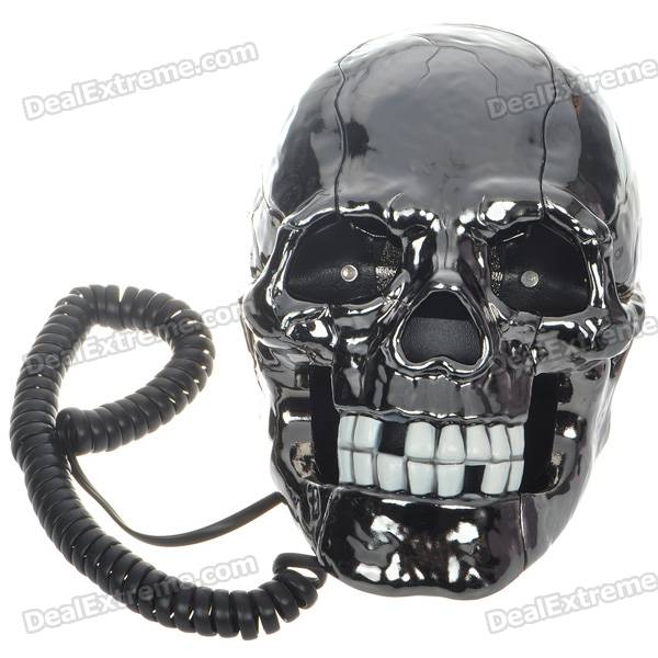 Unique Skull Skeleton Shaped Land Line Telephone - Black