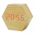 BSTUO-Cute-Hexagon-Shaped-USB-Or-Battery-Powered-LED-Digital-Alarm-Clock-Sound-Control-Light-Brown