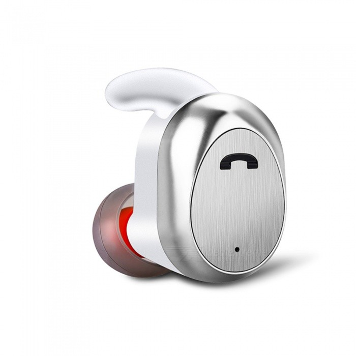 D11 Mini Wireless Bluetooth Business Headset Earphone, Sport Running Invisible Earbuds with Microphone - White