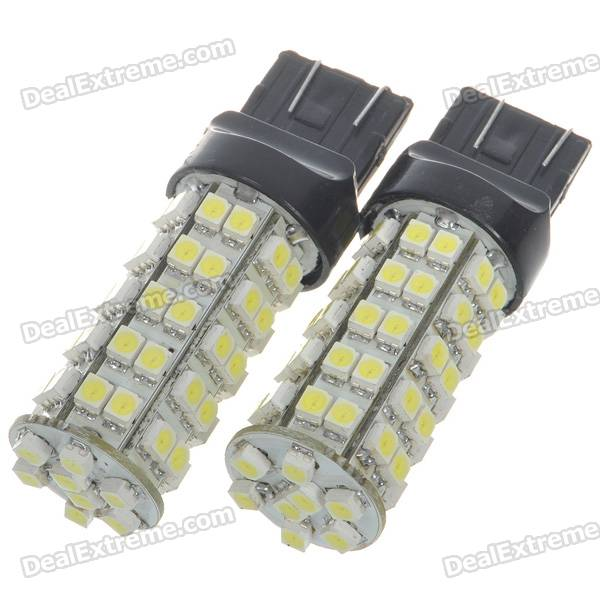 T20 3.5W 310-Lumen 6500K 68-SMD LED White Light Car Brake/Backward Signal Light Bulbs (Pair/DC 12V)