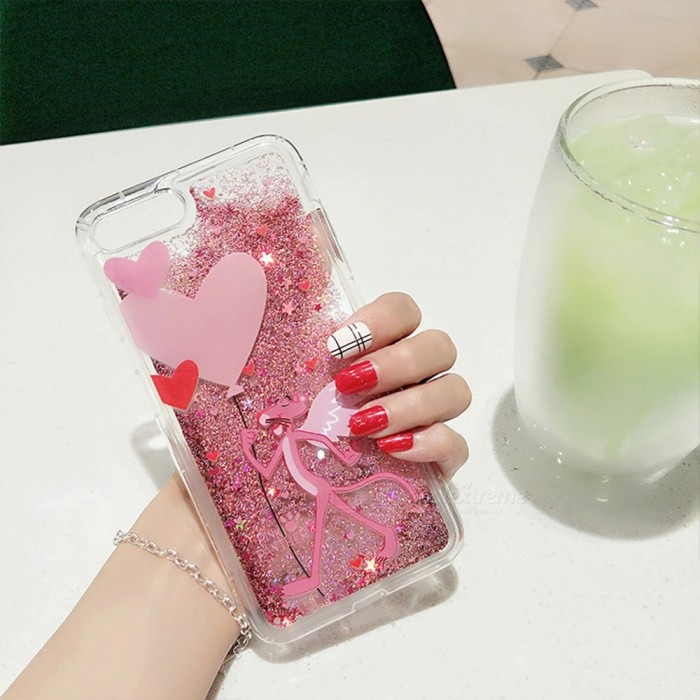 Cute Leopard + Heart Pattern with Quick Sand Protective Plastic Back Case for IPHONE 7 - Pink
