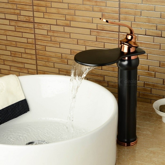 Antique-Brass-Deck-Mounted-Waterfall-Ceramic-Valve-One-Hole-Oil-rubbed-Bronze-Bathroom-Sink-Faucet-wSingle-Handle