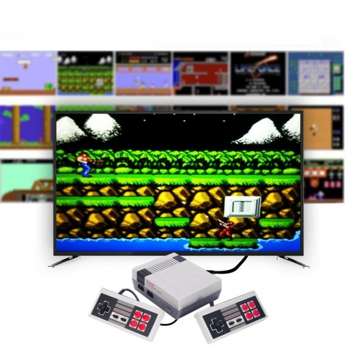 HDMI Port Mini TV Game Console with 2 Controllers and Built-in 600 Classic Games for Family - Gray (EU Plug)