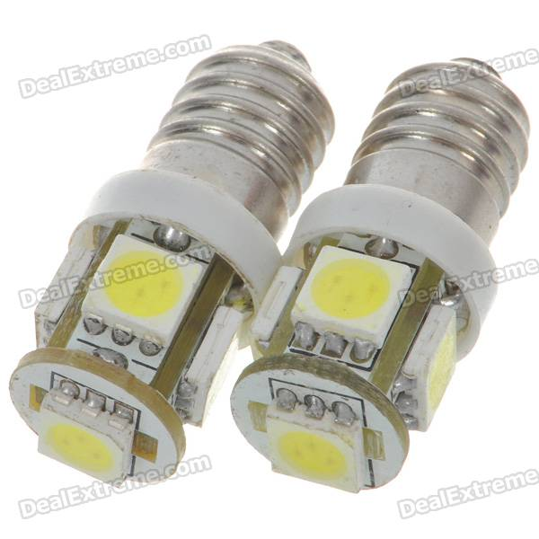 E10 1.2W 6500K 70-Lumen 5-SMD LED Car White Light Bulbs (Pair/DC 12V)