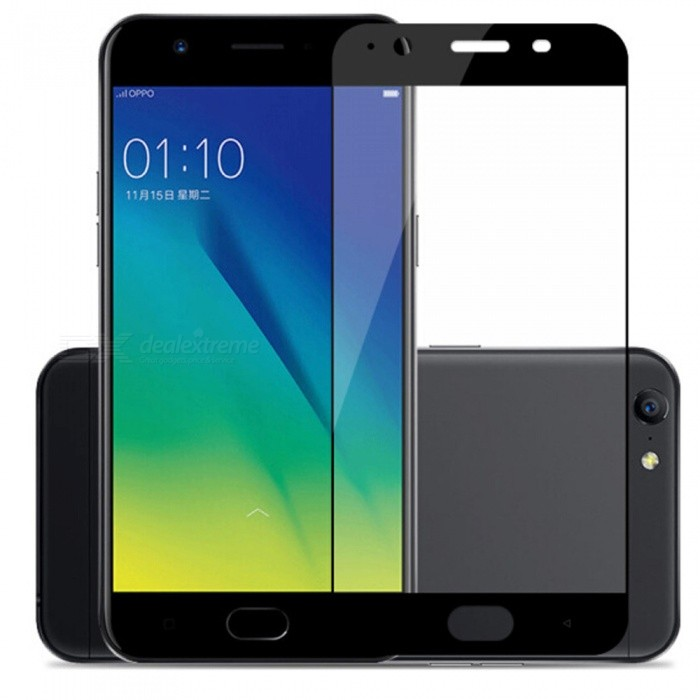 Naxtop 2.5D Full Screen Coverage Tempered Glass Protector for Oppo A37 - Black