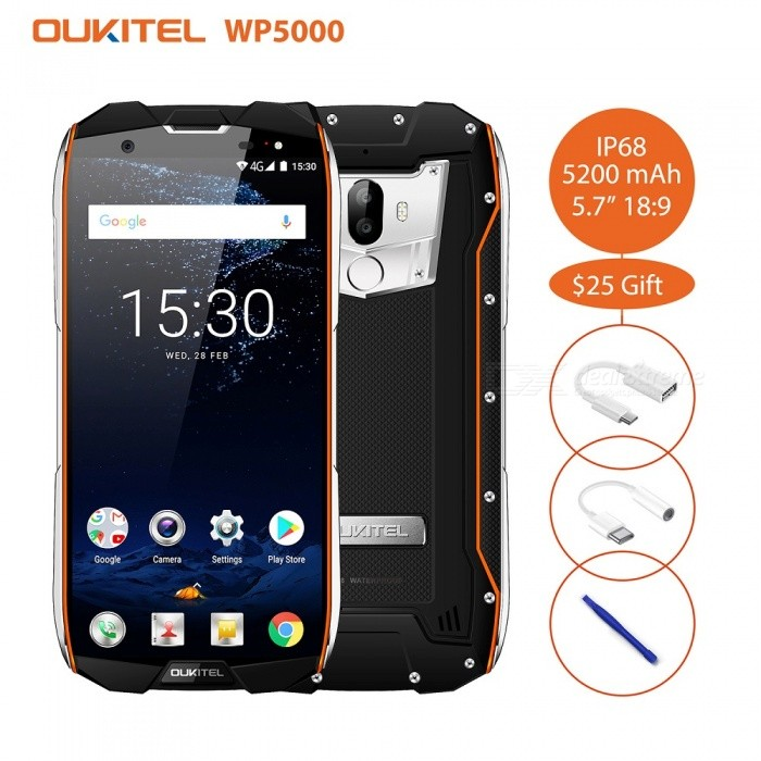 OUKITEL WP5000 IP68 Full Screen 5.7 189 HD+ 1440*720 Helio P25 Octa-core 2.5GHz Smart Phone with 6GB RAM, 64GB ROM