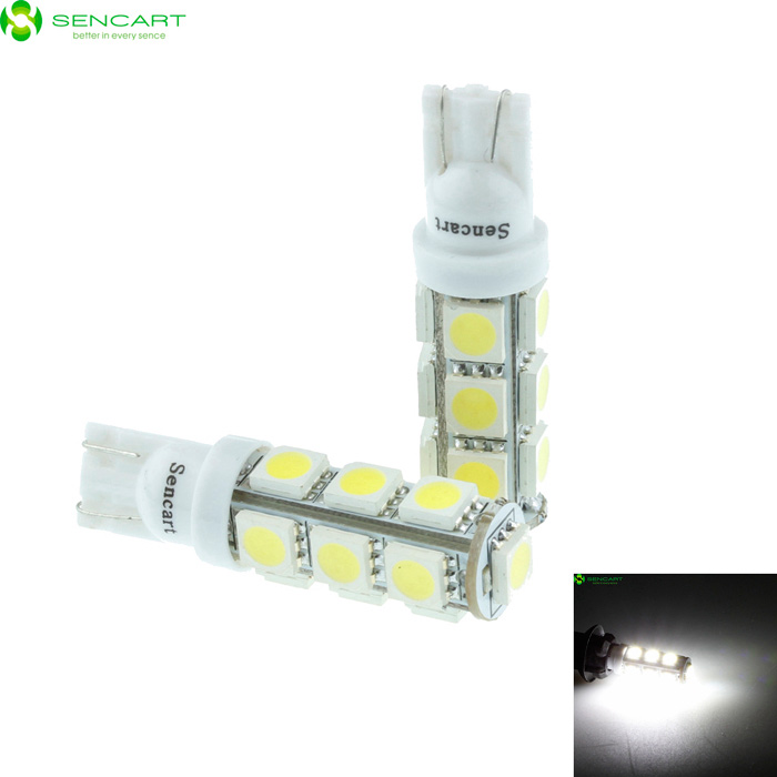 T10 3W 6500K 90-Lumen 13-SMD LED Car White Light Bulbs (Pair/DC 12V)