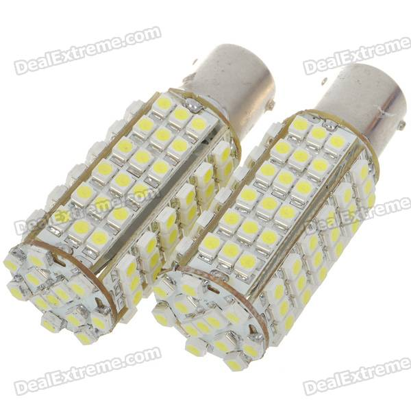 1156 5W 102-SMD LED 450-Lumen 6500K Brake/Backup White Light Bulbs (Pair/DC 12V)
