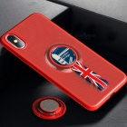 ROCK-Protetive-Back-Case-for-IPHONE-X-With-Megnetic-Back-Metal-Ring-Stand-Anti-Slip-Strap-Red
