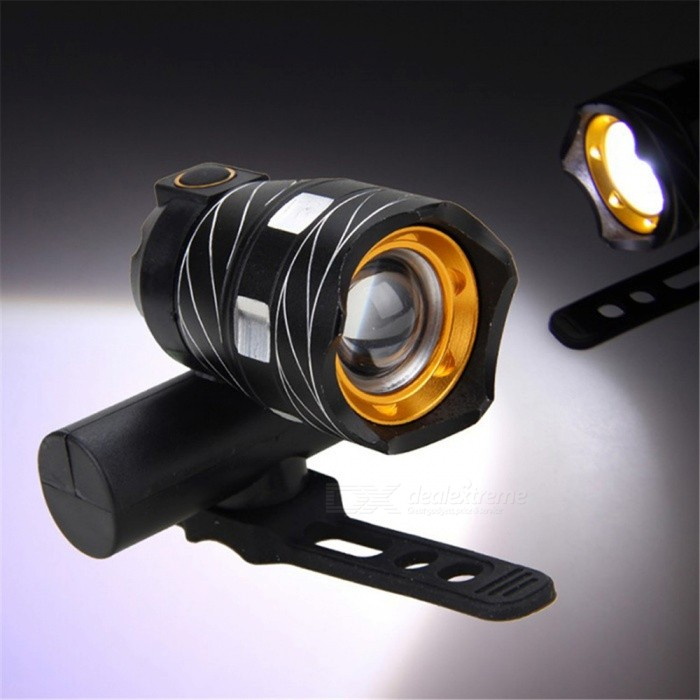 Waterproof USB Rechargeable Outdoor Cycling Bike LED Flashlight 3-Mode Cold White - Black