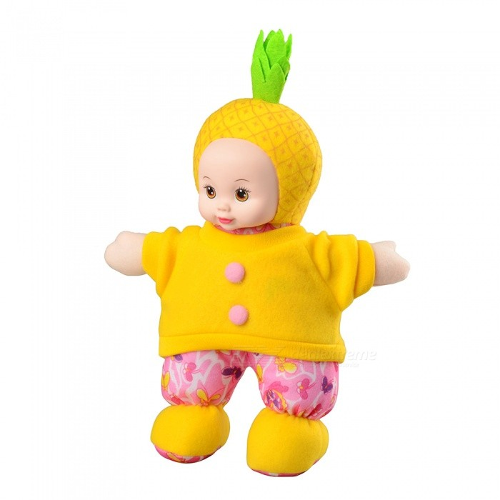 Easy Eight Pineapple Doll Cartoon Soft Plush Silicone Face Stuffed Toy for Girls Gift - Yellow