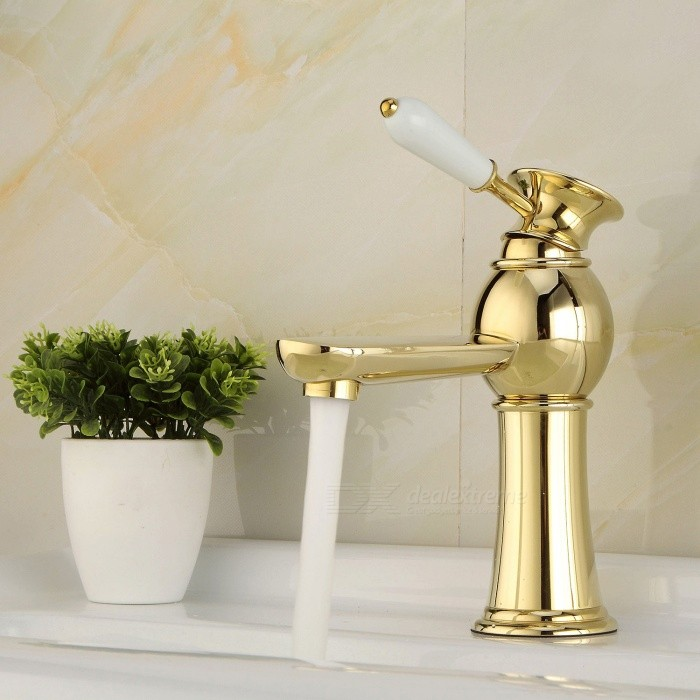 Contemporary-Brass-Deck-Mounted-Ceramic-Valve-One-Hole-Ti-PVD-Bathroom-Sink-Faucet-w-Single-Handle