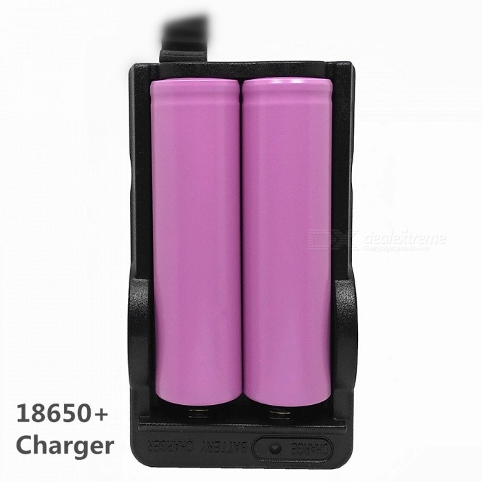 2 x 18650 Batteries + Double-Groove Charger Set for DV / Toy / Interphone / Instrument / Etc