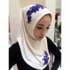 Muslim Headdress Lace Embroidery Summer Head Cover for Women - White