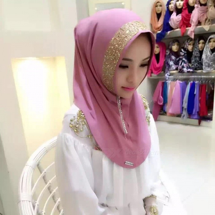 Stylish Muslim Rrhinestone Decoration Headdress Head Cover for Women - Pink